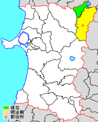 Kazuno District, Akita - Location of Kazuno District in Akita Prefecture  green - current (Kosaka-machi) yellow - former extent (Kazuno-shi)