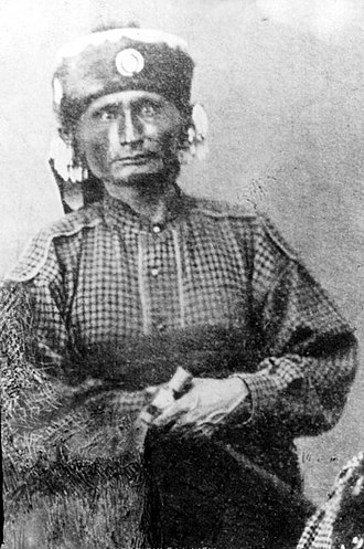 Kaw people - Al-le-ga-wa-ho, head chief of the Kaws in the 1860s and 1870s. He was very tall, well over six feet in height.