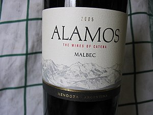 A bottle of Argentina Malbec
