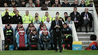 Alan Pardew - Pardew (front, standing) as manager of Newcastle United in 2014