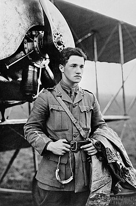 Half portrait of young dark-haired man in military uniform with coat over left arm, standing in front of biplane