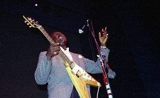 Albert King - King at Fillmore East, October 1968, with his Gibson Flying V guitar. Photo: Grant Gouldon