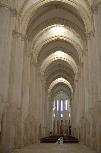 Portuguese Gothic architecture - Central aisle of the church of Alcobaça Monastery (12th–13th century).