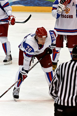 Russia forward Alexander Semin lines up for a ...