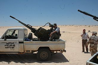 Technical (vehicle) - A ZU-23-2 technical used by the forces of the National Transitional Council during the Libyan civil war, in October 2011.