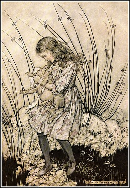 File:Alice in Wonderland by Arthur Rackham - 07 - It grunted again so violently that she looked down into its face in some alarm.jpg