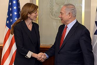Samantha Power - Power with Israeli Prime Minister Benjamin Netanyahu at his office in Jerusalem, February 15, 2016