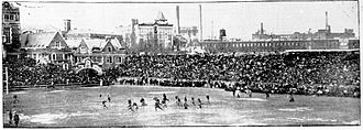 1907 college football season - Part of the crowd watching the Penn Quakers defeat Cornell on Franklin Field, Philadelphia