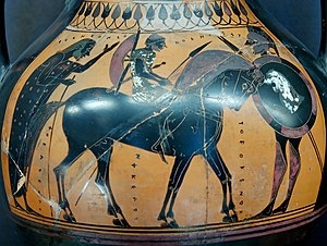 Hippeis - Fully armed Hippeus. Attic black-figure amphora, 550–540 BC (Louvre)