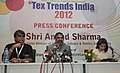 Anand Sharma addressing a press conference after inaugurating the Tex Trends 2012, in New Delhi on July 16, 2012. The Secretary, Ministry of Textiles, Smt. Kiran Dhingra is also seen.jpg