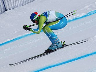 Downhill (ski competition) - Slovenia's Andrej Šporn at the 2010 Winter Olympics downhill in a typical downhill body position