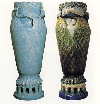 "Rörstrand - ""Peacock Vase"" by Anna Boberg, two variants 1897"