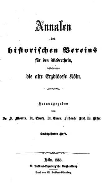 File:Annalen des Historischen Vereins für den Niederrhein 16 (1865).djvu