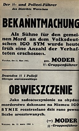 Announcement of death of Polish hostages executed after the death of Igo Sym