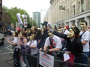 A group of Anonymous protesters opposite the L...