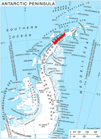 Danco Coast - Location of Danco Coast on Antarctic Peninsula.