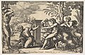 Apollo seated at the right with a lyre on his knee, pointing to a kneeling man who is about to flay Marsyas who is tied naked to a tree at left MET DP824480.jpg