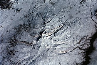 Mount Aragats - Aerial view of Aragats: a 2001 photo from the International Space Station