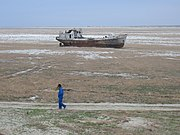 Ship stranded by the retreat of the Aral Sea.