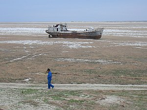 English: Orphaned ship in former , near Aral, ...