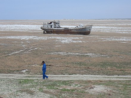 Salt deposits on the former bed of the Aral Sea