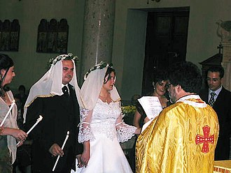 Christian views on marriage - Arbëreshë Albanian couple during marriage in an Italo-Greek Catholic Church rite.