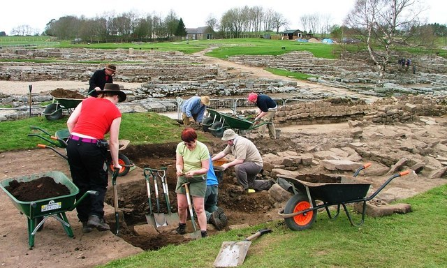 Archaeologists at Work in Vindolanda - geograph.org.uk - 162180