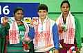 Archana (India) won the gold, MWMP Kumari (Sri Lanka) won the silver and Suma Chowdhury (Bangladesh) won the bronze medal in 55kg female wrestling, at 12th South Asian Games-2016, in Dispur, Guwahati on February 06, 2016.jpg
