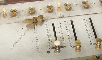 Arithmometer - Image: Arithmometer Detail of Multiplier pre 1851