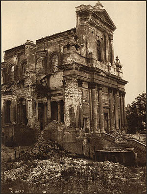 Arras Cathedral - Cathedral showing damage during World War I.