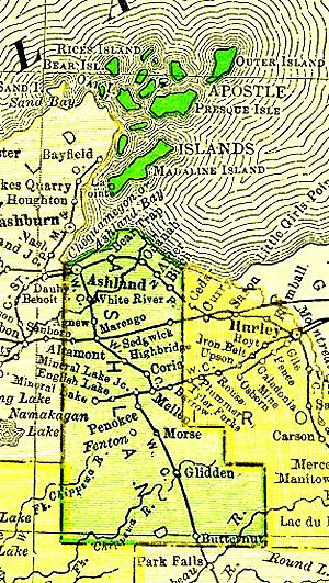 Apostle Islands - Ashland County, Wisconsin, from 1895 U.S. Atlas with Apostle Islands located in the north.
