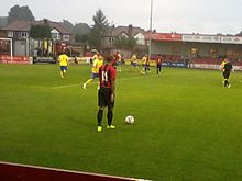 Ashley Vincent, English footballer born 1985, playing for Shrewsbury Town in a practice match at Moss Lane, Altrincham. 1 August 2014.jpg