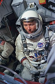 Astronaut Wally Schirra during a simulated flight test activity