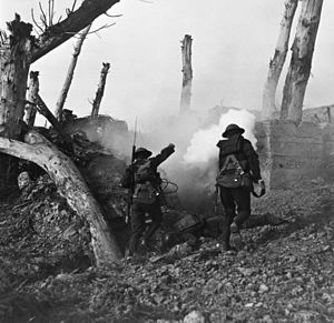 United States campaigns in World War I - Two American soldiers storm a bunker past the bodies of two German soldiers during World War I. Digitally restored.