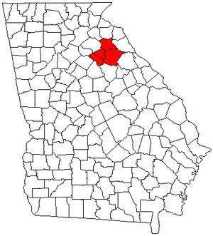 Athens – Clarke County metropolitan area - Map of Georgia highlighting the Athens-Clarke County metropolitan area.