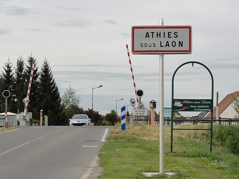 Athies-sous-Laon (Aisne) city limit sign