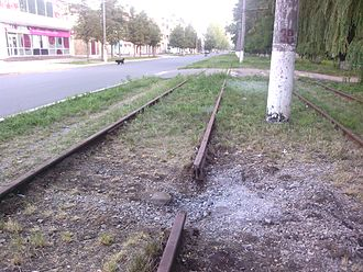 Avdiivka tram rails destroyed, august 2015.jpg