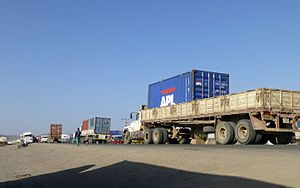 Awash, Ethiopia - Road traffic in Awash on Addis Ababa-Djibouti route
