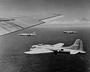 11th Wing - B-17Fs of the 26th BS, 11th BG, over the South Pacific, 1942.