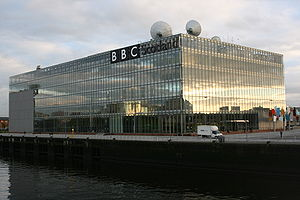 BBC Pacific Quay - BBC Pacific Quay view from the Clyde