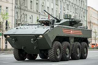 Russian amphibious wheeled armored personnel carrier