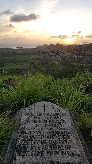 Oliver Baldwin, 2nd Earl Baldwin of Bewdley - Baldwin's tombstone on a hilltop on the island of Antigua.