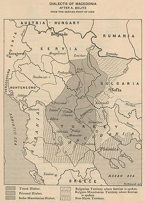 Yat - In 1914, Serbian philologist Aleksandar Belić's map showed the Serbian point of view where the yat border separated Serbian from Bulgarian