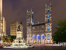 View Of The Notre Dame Basilica From Place DArmes Number Churches In Montreal Led It To Be Called City A Hundred Steeples
