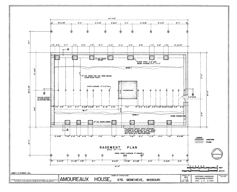 File basement floor and structural plan amoureaux house House plan with basement parking