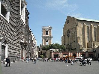Santa Chiara, Naples - Façade (right) and belltower of Santa Chiara.
