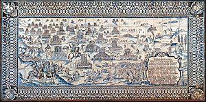Battle of Montes Claros - Image: Batalille de Montes Claros azulejo XVI Ie siècle Palais Fronteira, Lisbonne