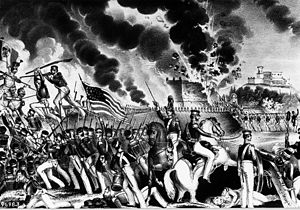 "Battle of Molino del Rey - Contemporary lithograph portraying the ""Blowing up the Foundry by the Victorious American Army under General Worth"