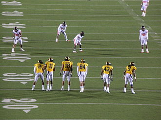 Onside kick - California lines up to attempt an onside kick against Oregon State in a November 2009 American football game. Oregon State recovered the ball.
