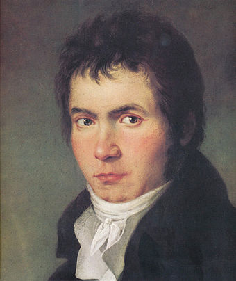 Ludwig van Beethoven: detail of an 1804-05 portrait by Joseph Willibrord Mahler. The complete painting depicts Beethoven with a lyre-guitar. Beethoven 3.jpg